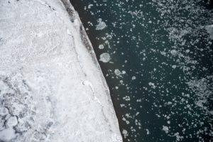 The boarder of a sea ice shelf